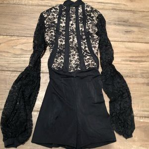 teen black lace shorts jazz romper. Worn once